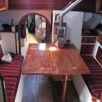 Interior facing aft with table up