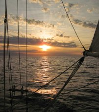 Sunset on night 2 - Monday June 16th. Somewhere in the Gulf of Maine