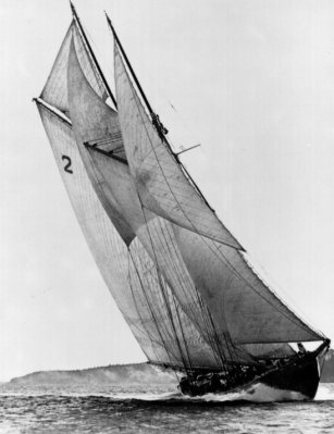 The original Bluenose sailing off Nova Scotia.