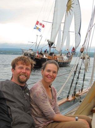 Sailing alongside the Ameoba in Baddeck Bay.