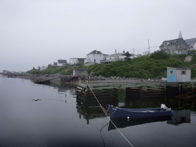 Waterfront in Canso on a foggy evening.