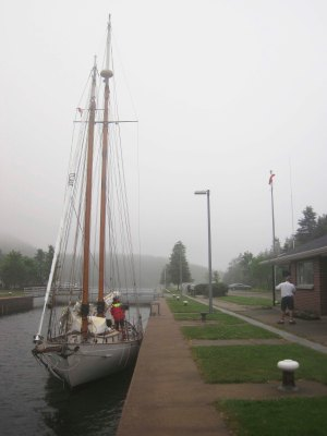 Tied up in the St. Peters Canal as the locks close to raise us up approx. 1 foot.