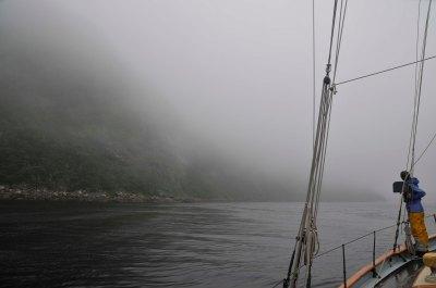 Entering Grey River, Newfoundland on a very foggy day.