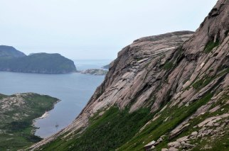 Hiking up Deadman's Cove waterfall, view into La Hune Bay, Newfoundland