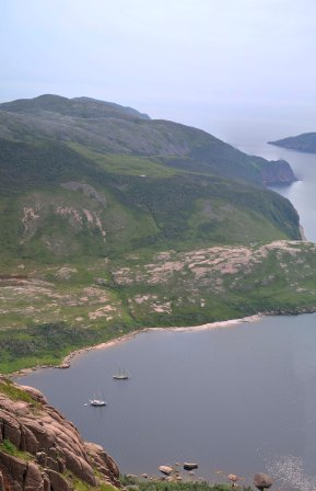 View from the top of the falls into Deadman's Cove, La Hune Bay.