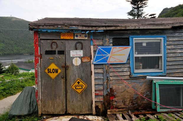 Old fish shack now skidoo storage in Grey River, Nfld.
