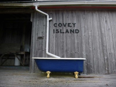 The old Covey Island boatworks shop. Now a private home.