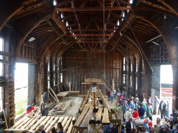 Keel laying party on the Lunenburg waterfront.