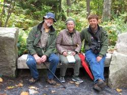 Matt and his parents at the Maine Botanical Gardens.