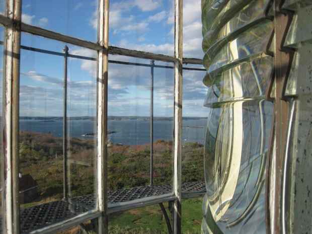 The Sequin Island Light house, a First Order Fresnel lens made up of 282 glass prisms. The light is visible from over twenty nautical miles. The original lighthouse was established here in 1795 and is Maine's tallest and second oldest lighthouse. The Fresnel lens was installed in 1857.