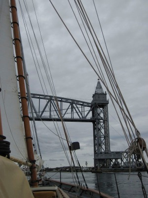 Going under the railway bridge near Bourne, MA, in the Cape Cod Canal. Almost home!